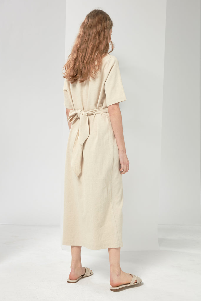 Wrapped linen-blend dress