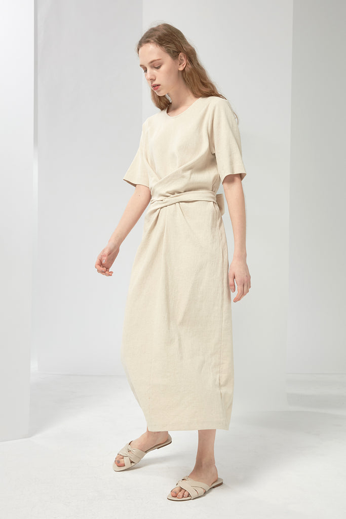 Wrapped linen-blend dress - Zelle Studio