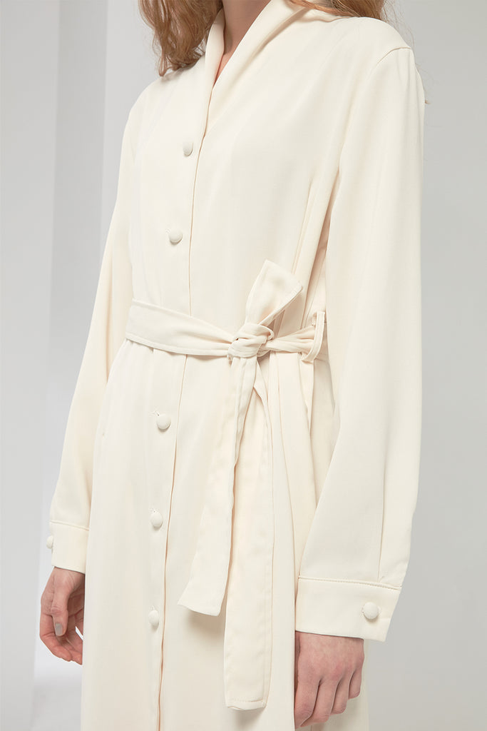 Button-detailed chiffon shirt dress - Zelle Studio