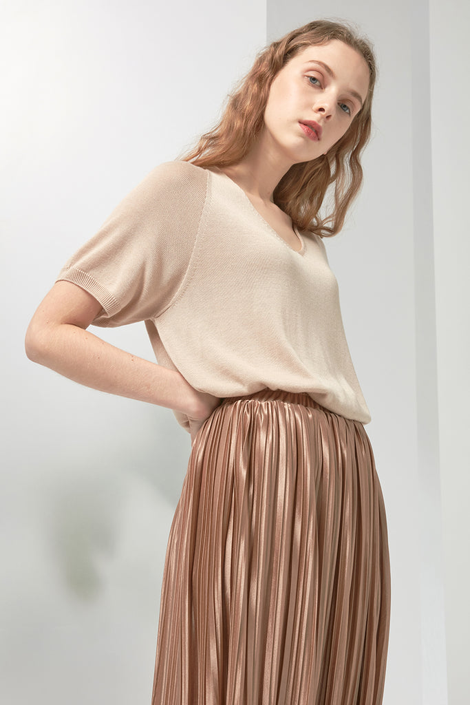 Elastic pleated satin skirt - Zelle Studio