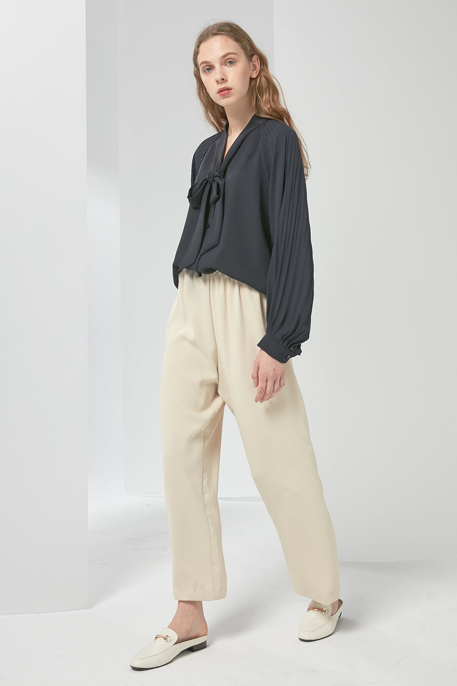 Elasticated chiffon trousers - Zelle Studio