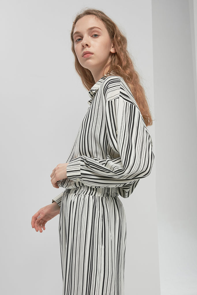 Striped chiffon trousers - Zelle Studio