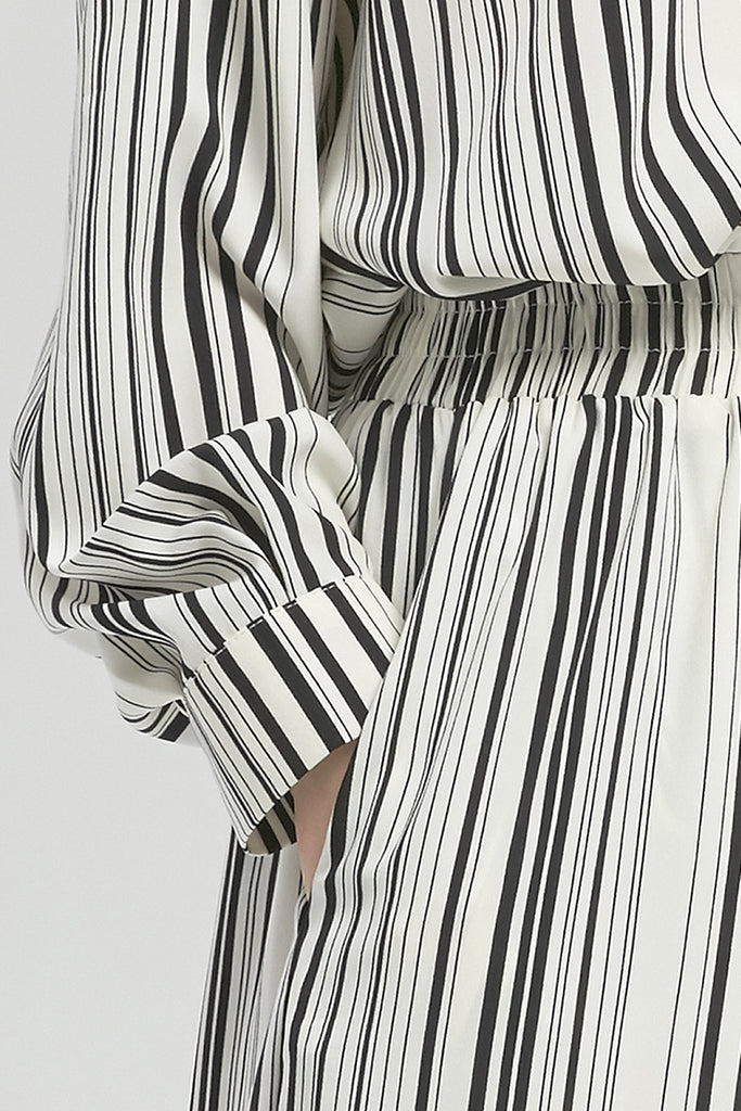 Striped chiffon trousers