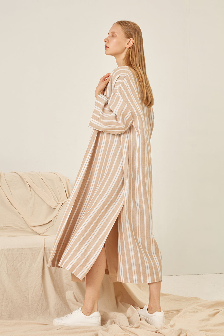 Oversized lightweight linen coat