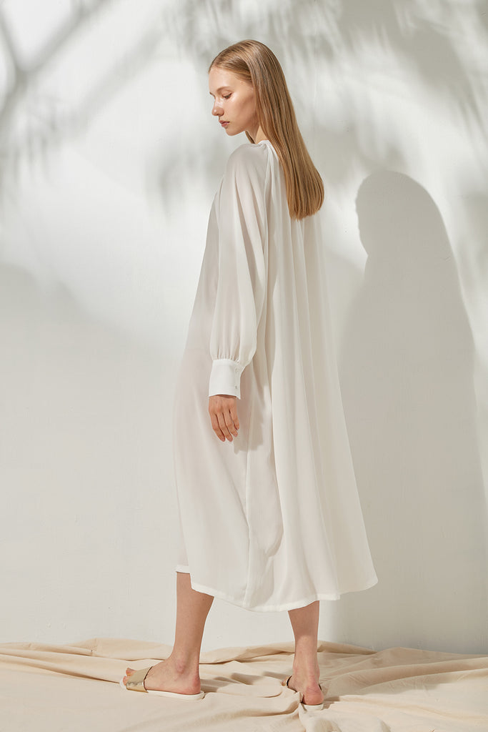 Mandarin collar shirt dress - Zelle Studio