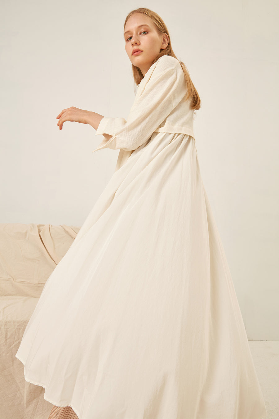 Linen cotton-blend long dress - Zelle Studio