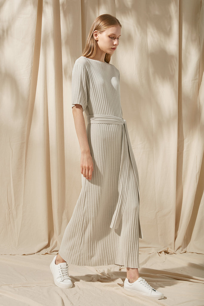 Ribbed dress with waist tie - Zelle Studio