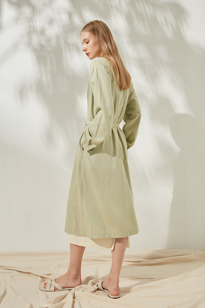 Oversized linen-blend dress
