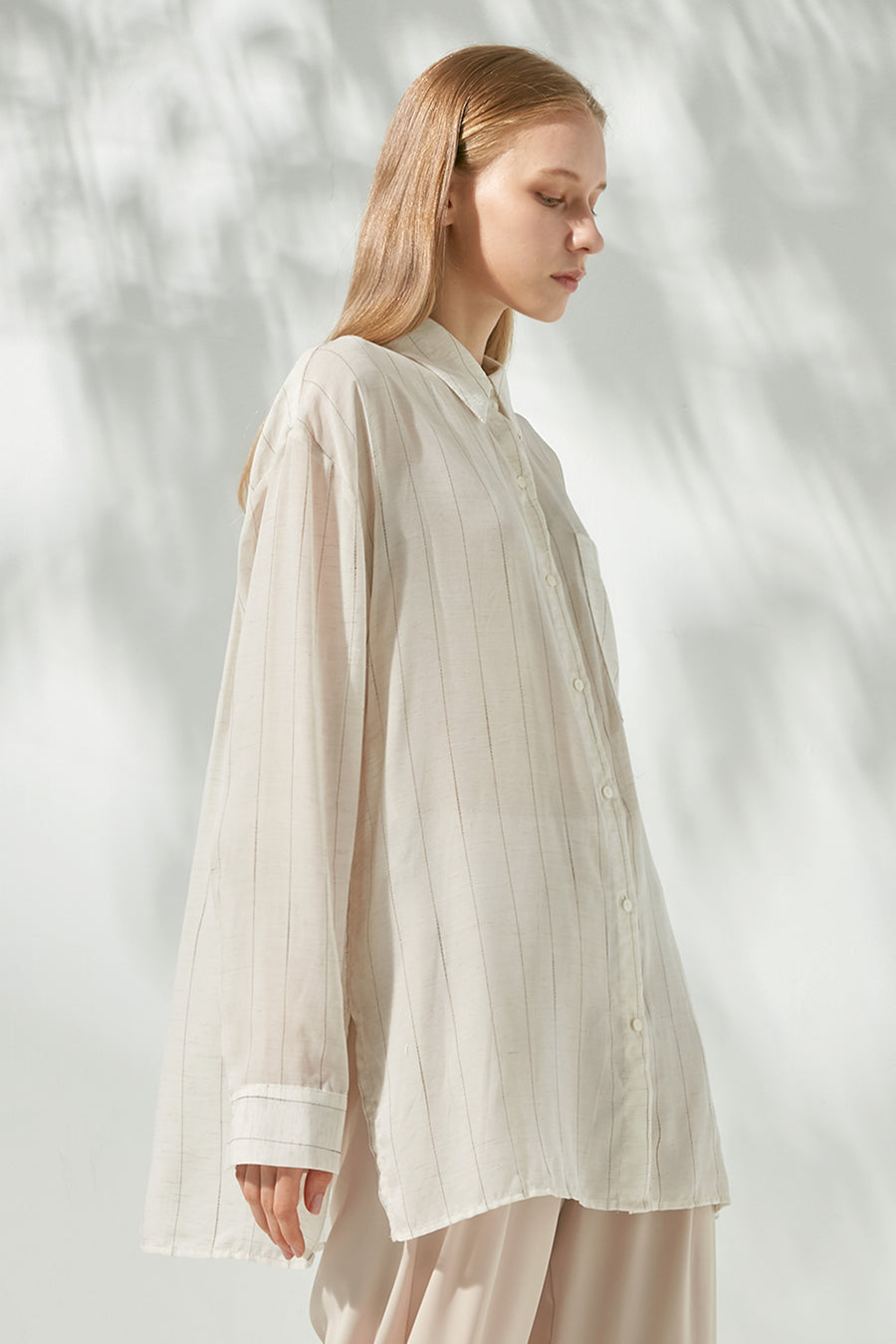 Oversized striped linen-blend shirt