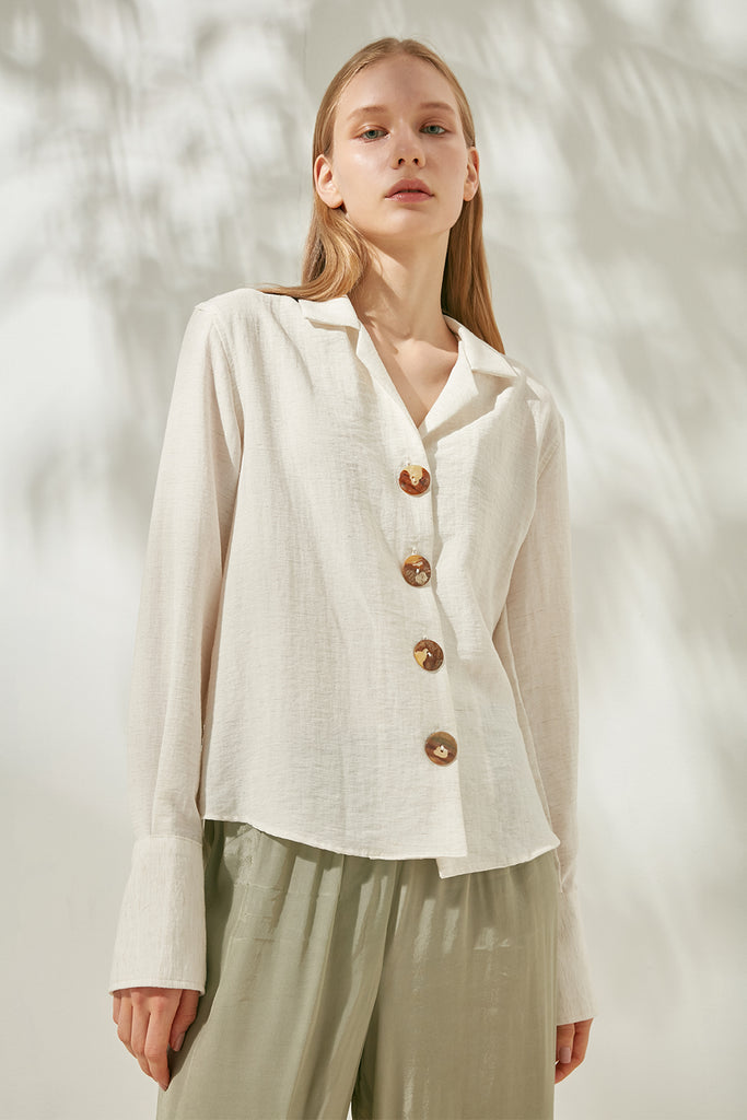 Linen-blend shirt with shell buttons - Zelle Studio