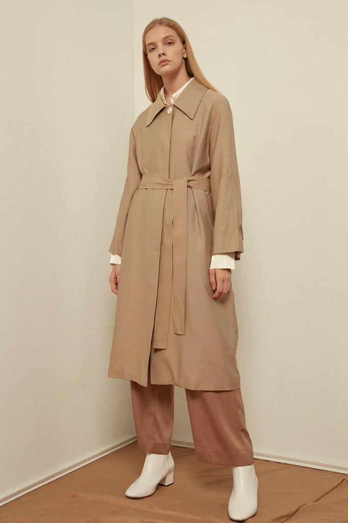 Longline belted cotton-blend coat