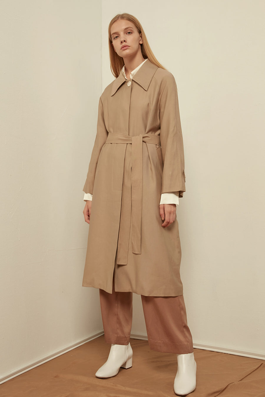 Longline belted cotton-blend coat - Zelle Studio