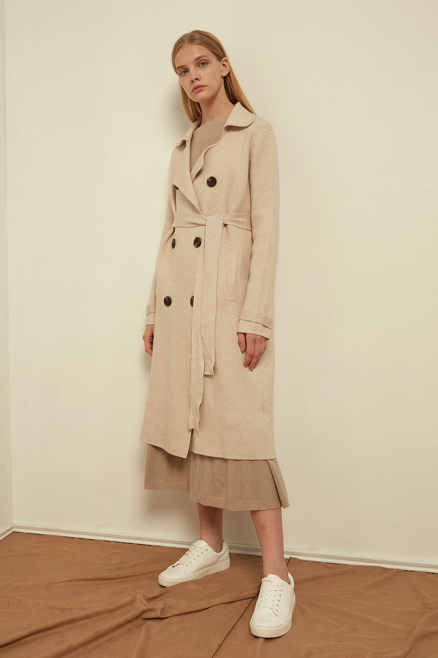 Knitted cashmere-blend trench coat - Zelle Studio