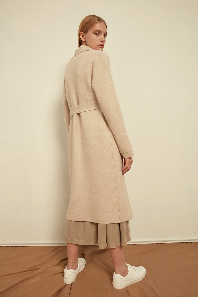 Knitted cashmere-blend trench coat