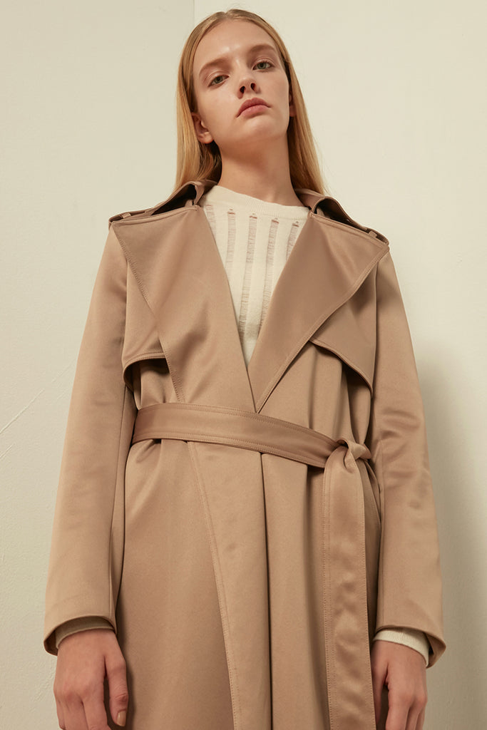 Belted satin trench coat - Zelle Studio