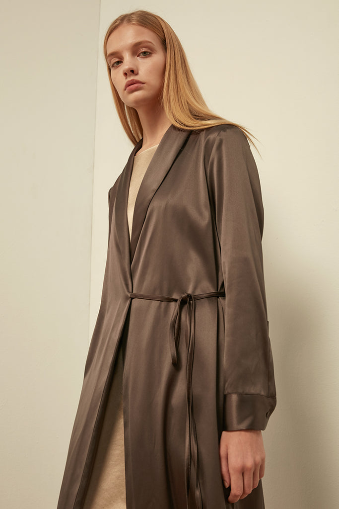 Satin dress coat