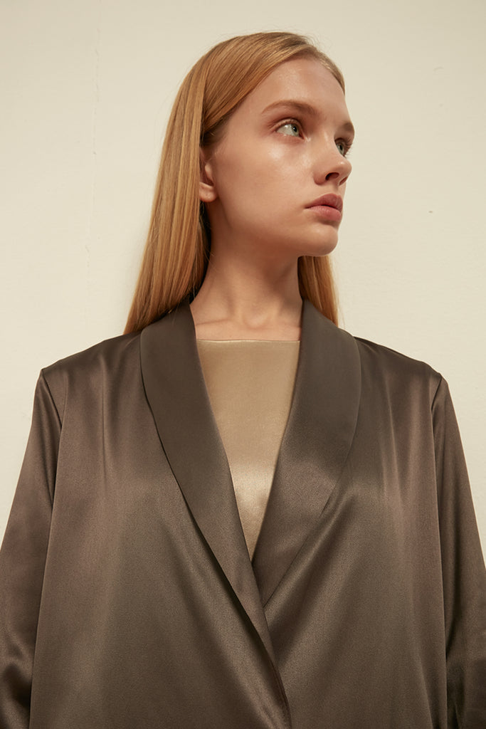 Satin dress coat - Zelle Studio