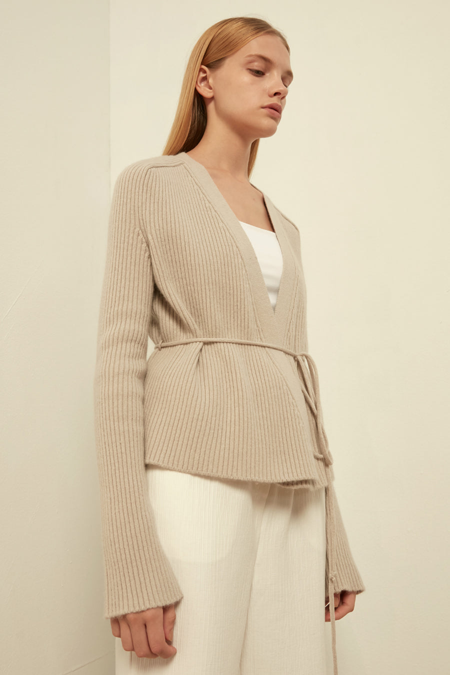 Ribbed wool cardigan - Zelle Studio