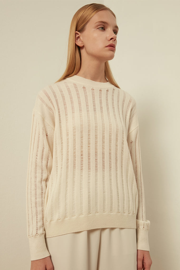 Crewneck wool-blend hollow sweater - Zelle Studio