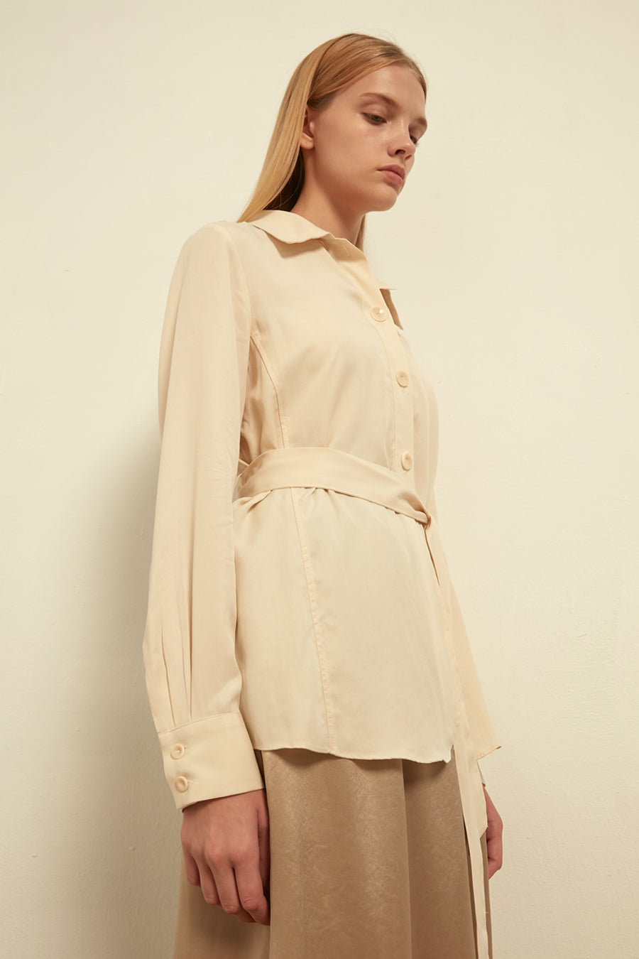Tencel shirt with waist tie - Zelle Studio