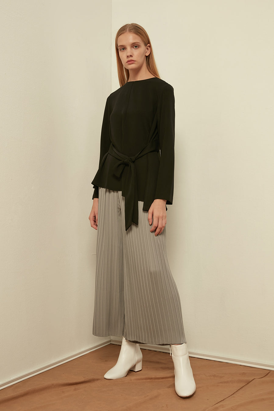Chiffon top with waist tie - Zelle Studio