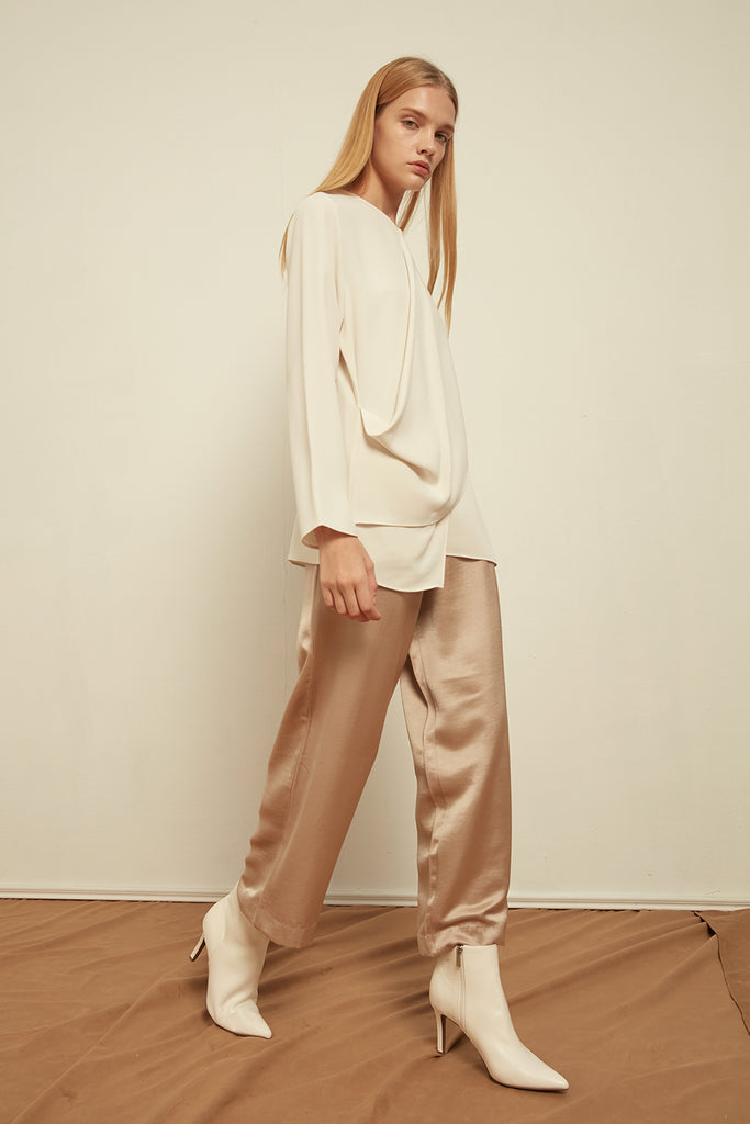 Elasticated satin trousers - Zelle Studio