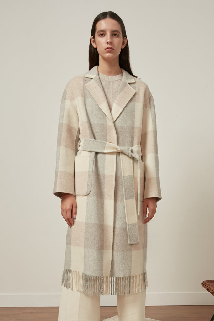 Extra-fine wool check coat with fringes - Zelle Studio