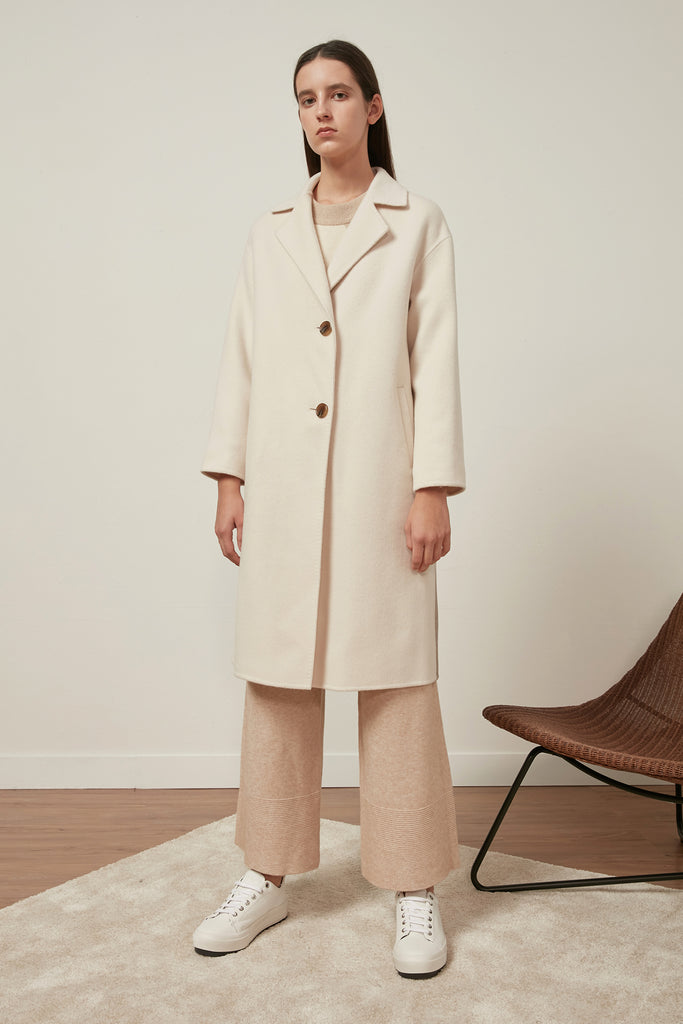 Fine wool colour block coat