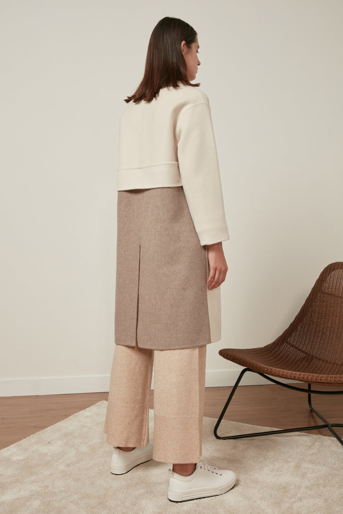 Fine wool colour block coat - Zelle Studio