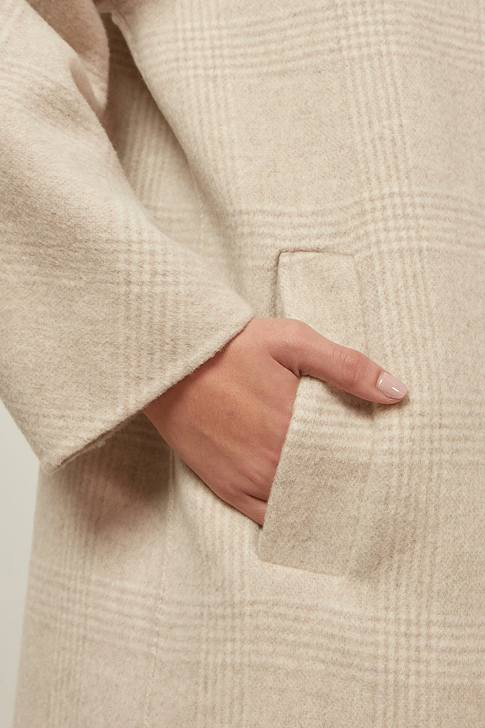 Oversized handmade wool checked coat - Zelle Studio