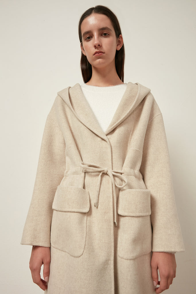 Longline hooded wool coat with waist tie - Zelle Studio