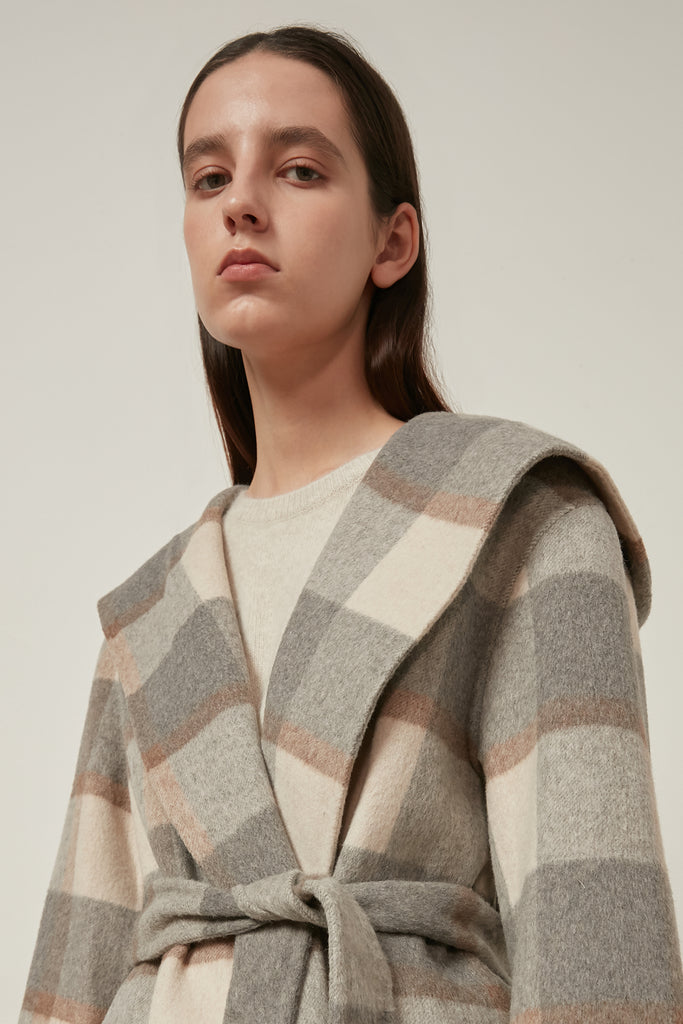 Hooded wool check coat with waist tie - Zelle Studio