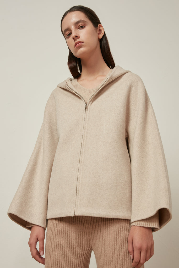 Origami hooded wool jacket - Zelle Studio