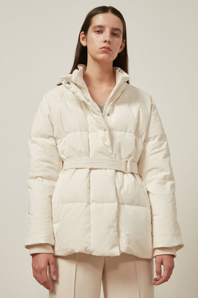 Belted quilted shell down jacket