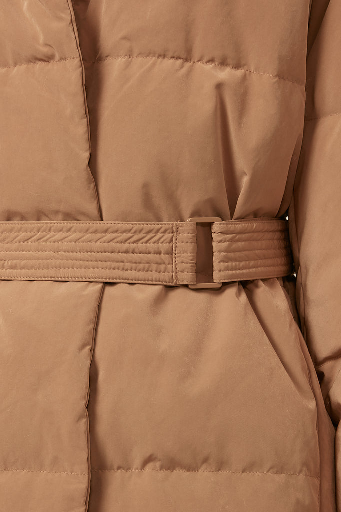 Belted quilted shell down jacket - Zelle Studio
