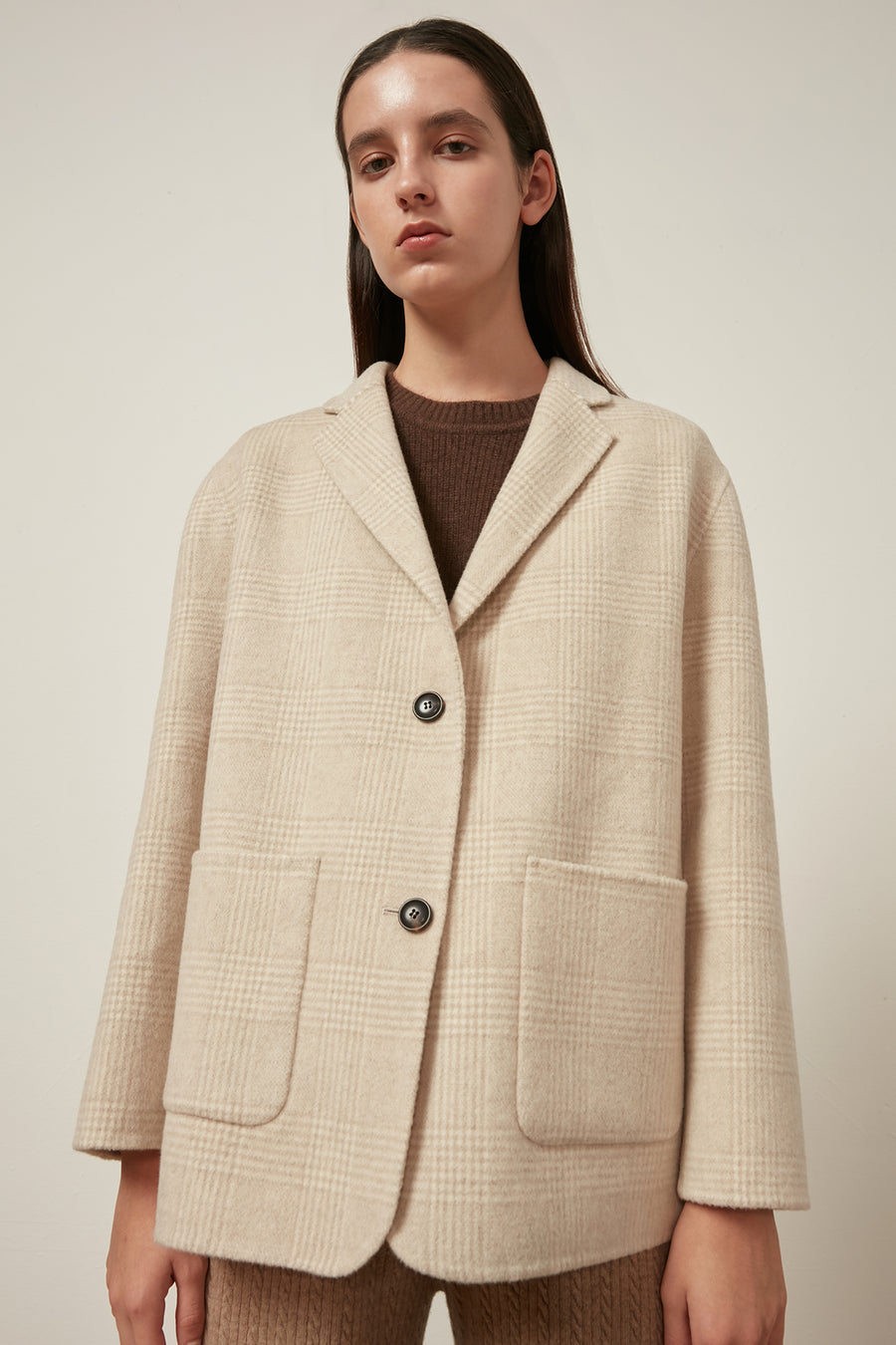 Wool-blend checked coat