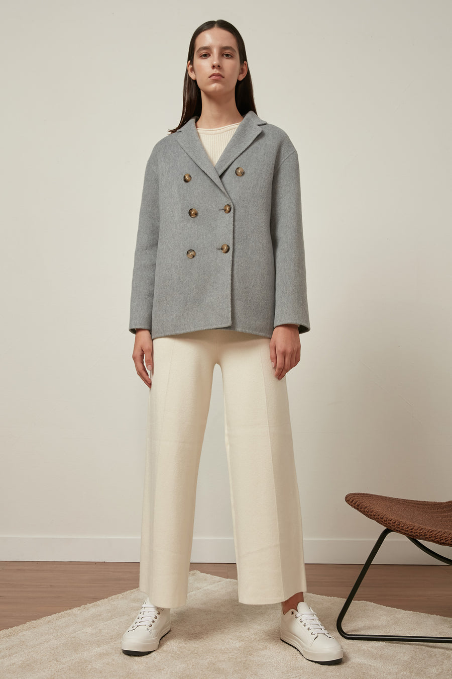 Baby blue wool and cashmere-blend coat - Zelle Studio