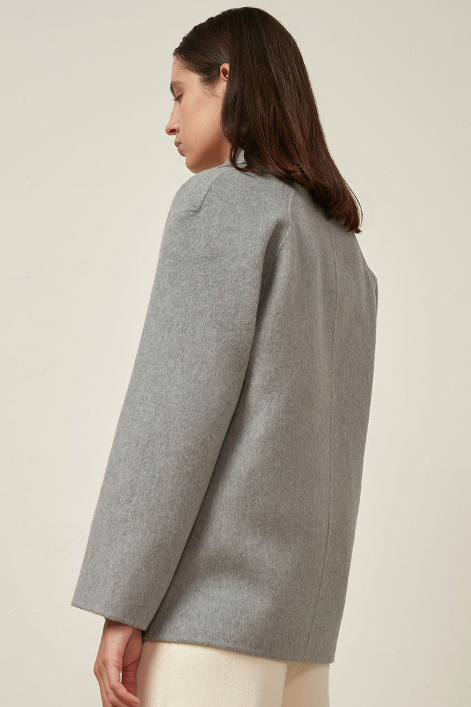 Baby blue wool and cashmere-blend coat