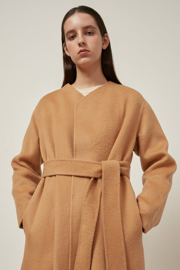Wool and alpaca-blend belted coat