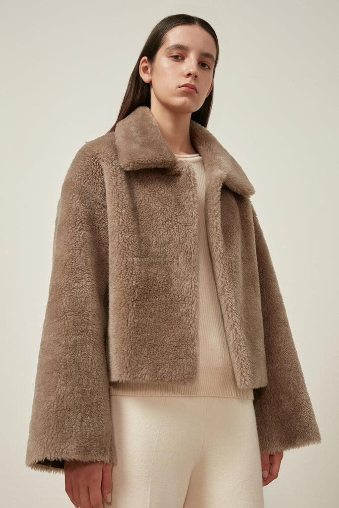 Wool-blend shearling jacket