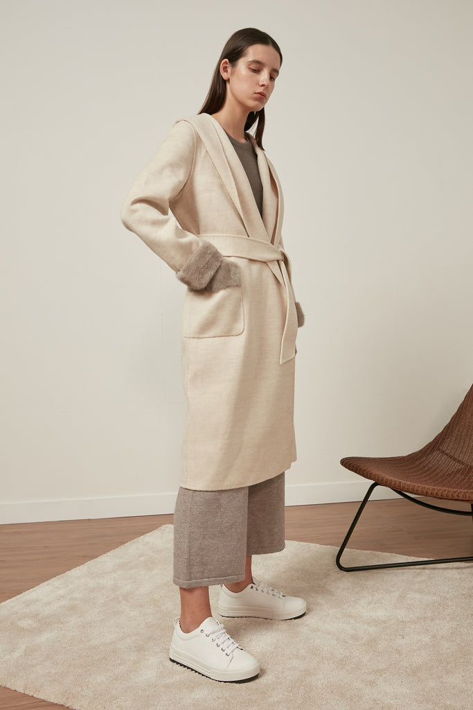 Longline hooded wool coat with waist belt - Zelle Studio