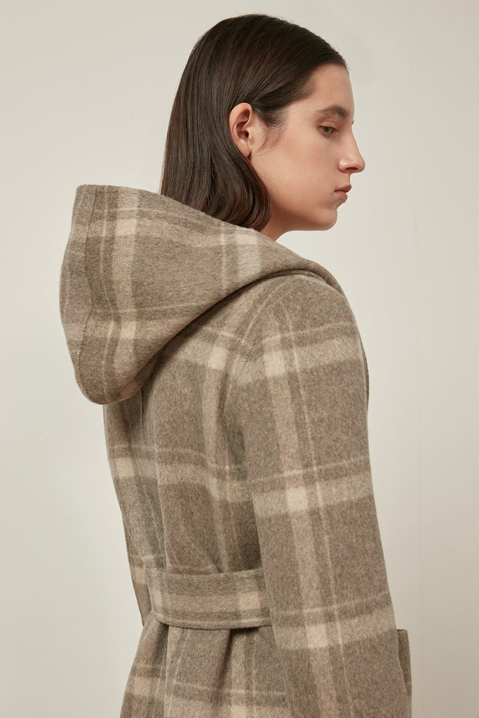 Reversible wool hooded check coat - Zelle Studio