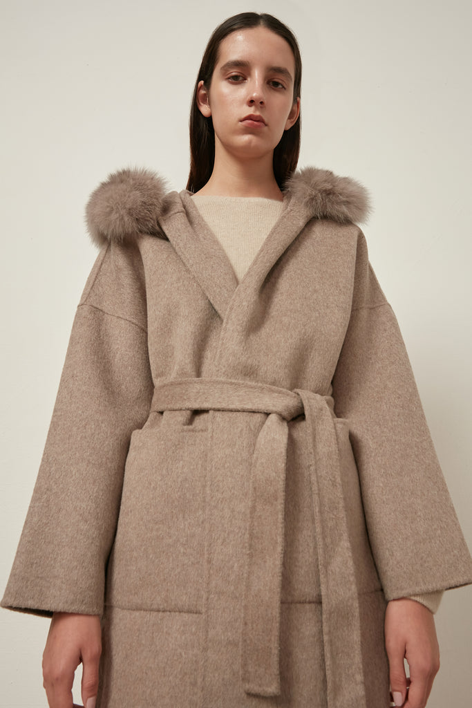 Oversized wool-blend belted coat - Zelle Studio