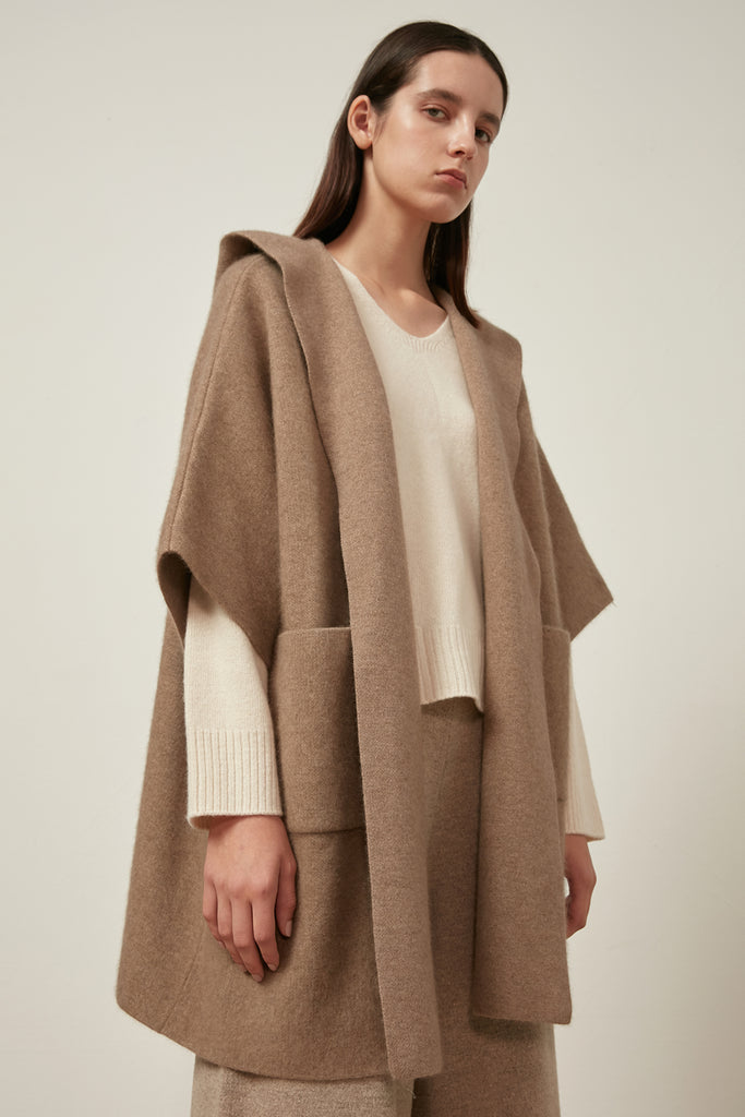 Raccoon and wool-blend knitted jacket - Zelle Studio