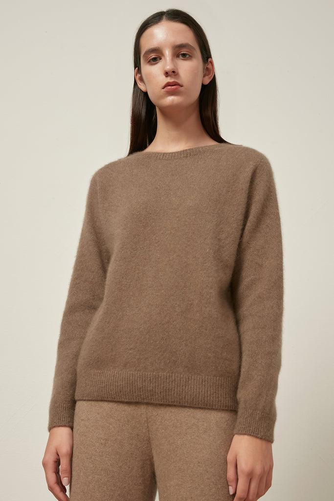 Whole-garment raccoon and wool-blend jumper - Zelle Studio