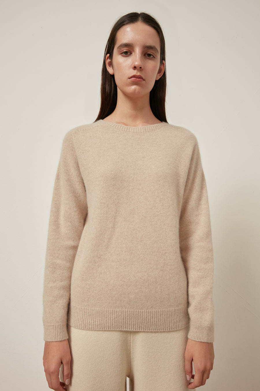 Whole-garment raccoon and wool-blend jumper