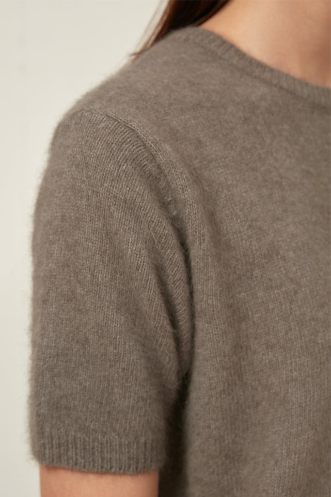 Wool and fox-blend short-sleeve sweater