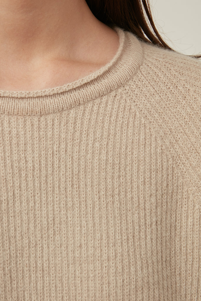 Fine-gauge ribbed wool jumper - Zelle Studio