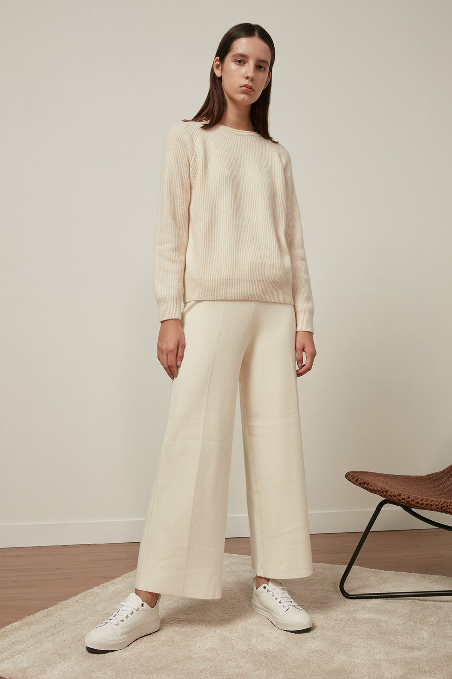 Fine-gauge ribbed wool jumper