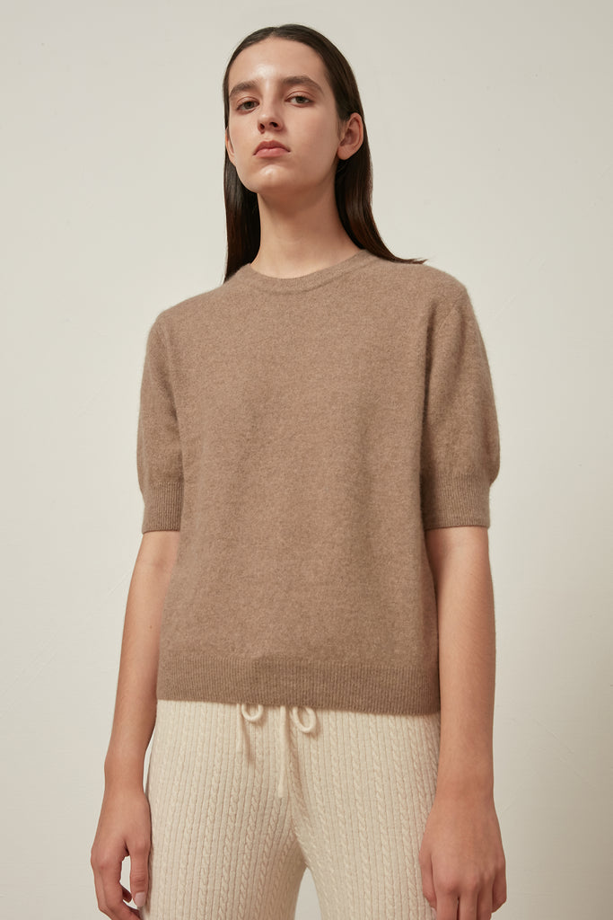 Raccoon fox and wool-blend short-sleeve jumper